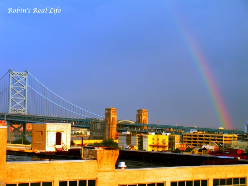 Rainbow Rooftops Ben Franklin Bridge Philadelphia Watermark